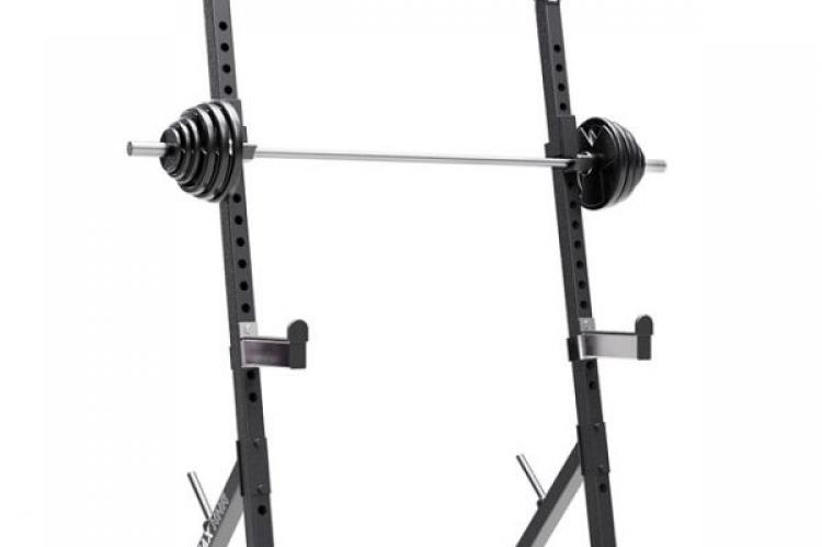 IRONAX XHR Half Rack side right view with a bar and plates